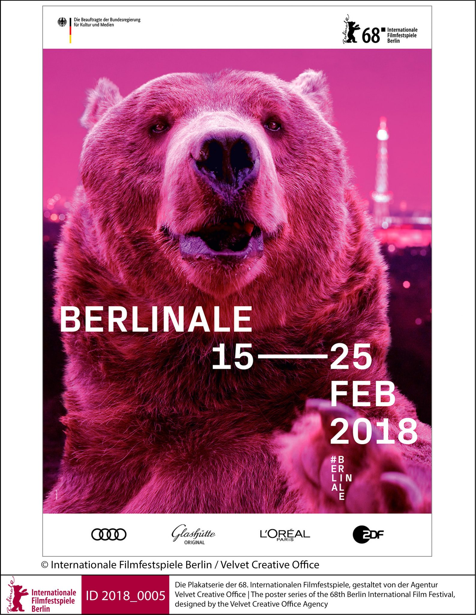 Berlinale Plakat der 68. Internationalen Filmfestspiele, gestaltet von der Agentur Velvet Creative Office