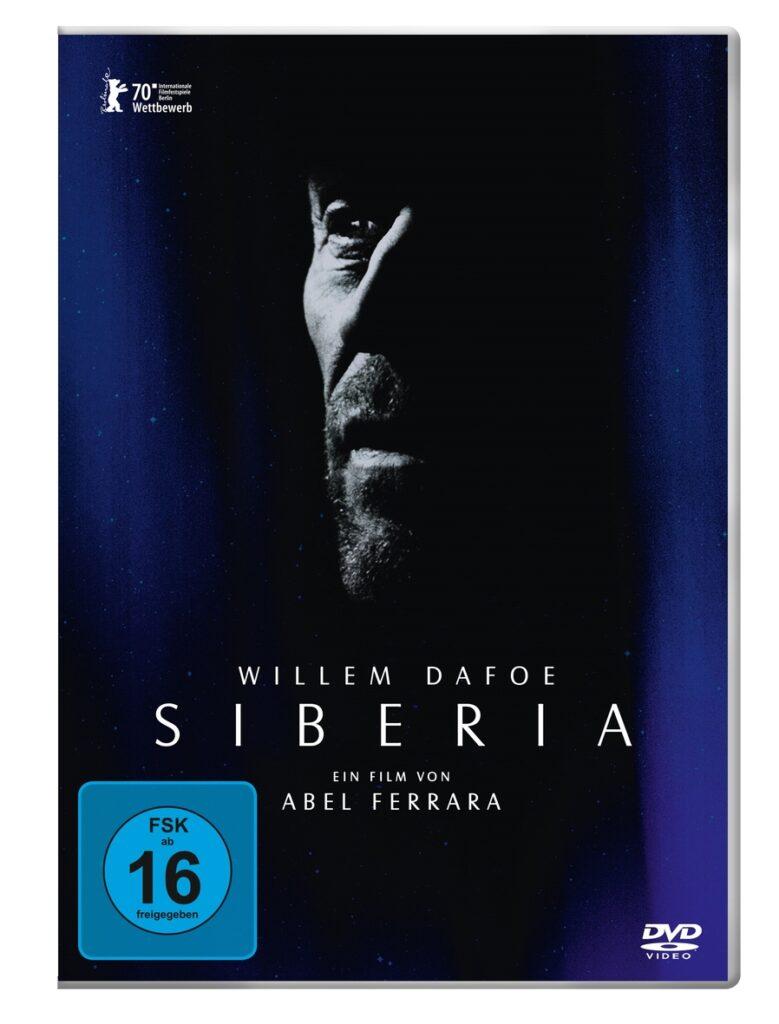Eine Silhouette von Hauptdarsteller Willem Dafoe ist auf dem in Schwarz und dunklem Blau gehaltenen Cover von Siberia zu sehen.