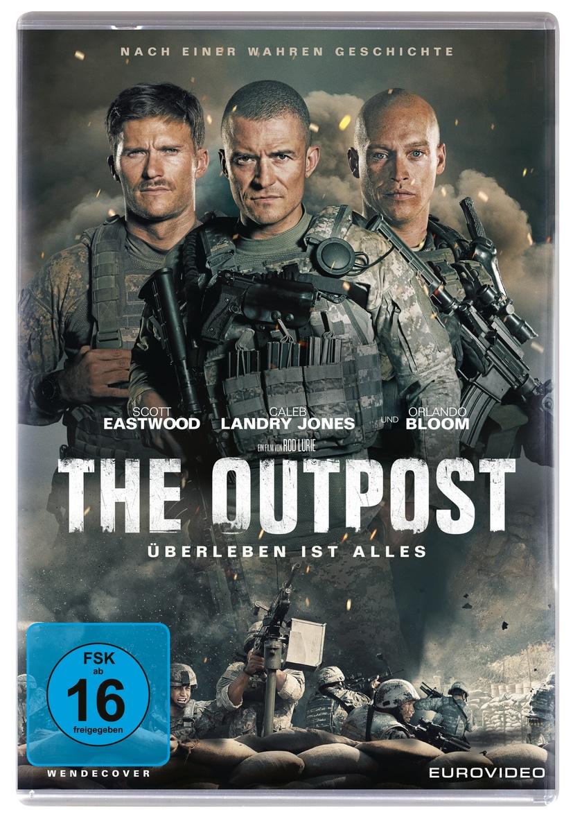 """Auf dem DVD-Cover sieht man den Titel """"The Outpost - Überleben ist alles"""", und die drei Hauptdarsteller Scott Eastwood, Orlando Bloom und Caleb Landry Jones nebeneinander. Unten im Bild sieht man noch eine Kampfszene, sowie das FSK-16 Logo."""