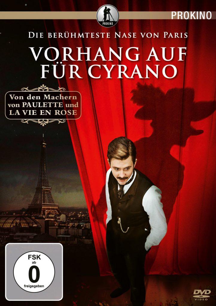 Edmond Rostand, dessen Schatten den langnasigen Cyrano zeigt, auf dem Cover des Films.
