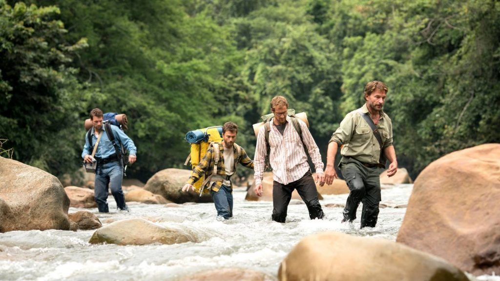 Daniel Radcliffe, Thomas Kretschmann, Alex Russell und Joel Jackson in Jungle