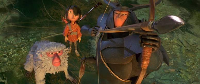 "Monkey, Kubo und Beetle in ""Kubo - Der tapfere Samurai"" by Universal Pictures"