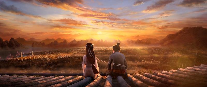 Xiao Bai und Ah Xuang sitzen auf dem Ziegelvorsprung der befestigten Mauer und schauen bei Sonnenuntergang auf die Lichter der Stadt unter ihnen in White Snake - Die Legende der weißen Schlange.