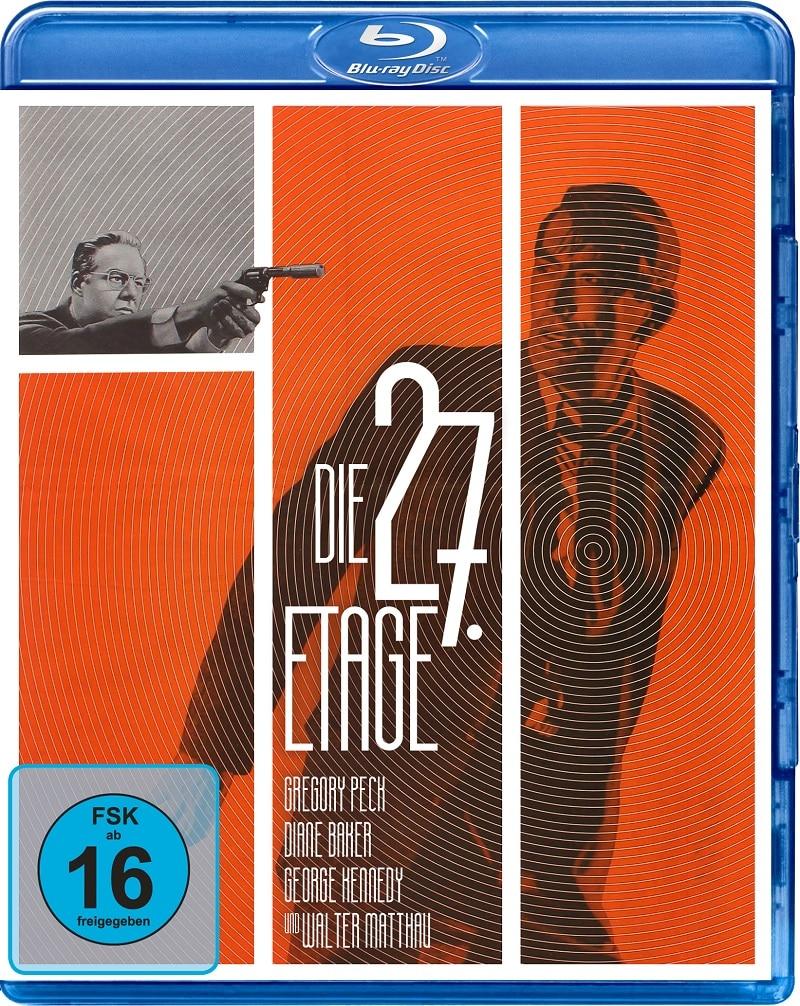 Im Vordergrund, vor orangenem Hintergrund, sieht man Gregory Peck, der sich umsieht. Klein in der oberen Ecke sieht man zudem einen Mann in einem grauen Kästchen, der mit der Waffe auf ihn zielt auf dem Cover von Die 27. Etage.