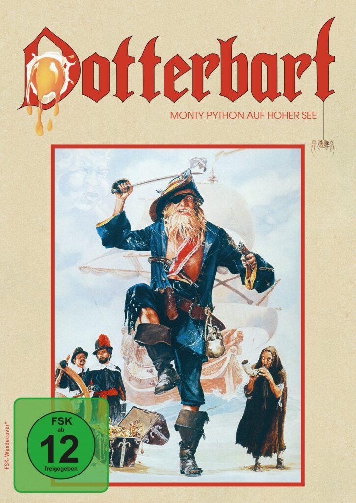 Pirat Dotterbart springt auf dem Cover der DVD kampflustigt dem Käufer entgegen