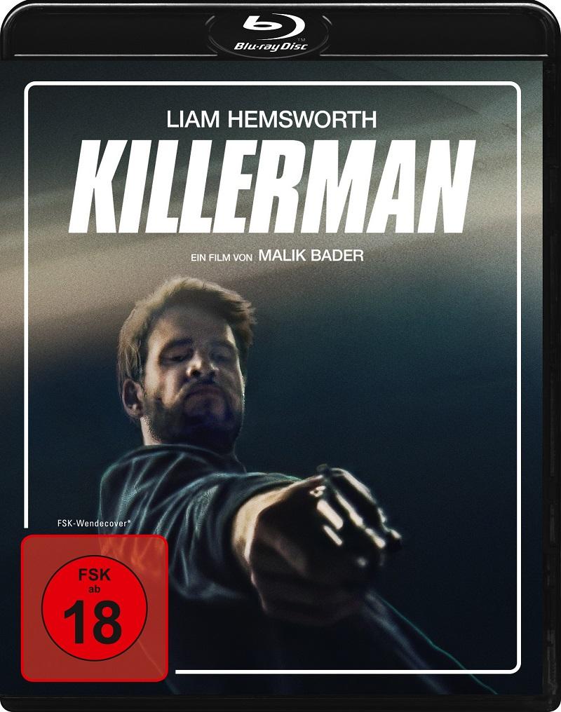 Liam Hemsworth droht mit dem Revolver auf dem Killerman Cover