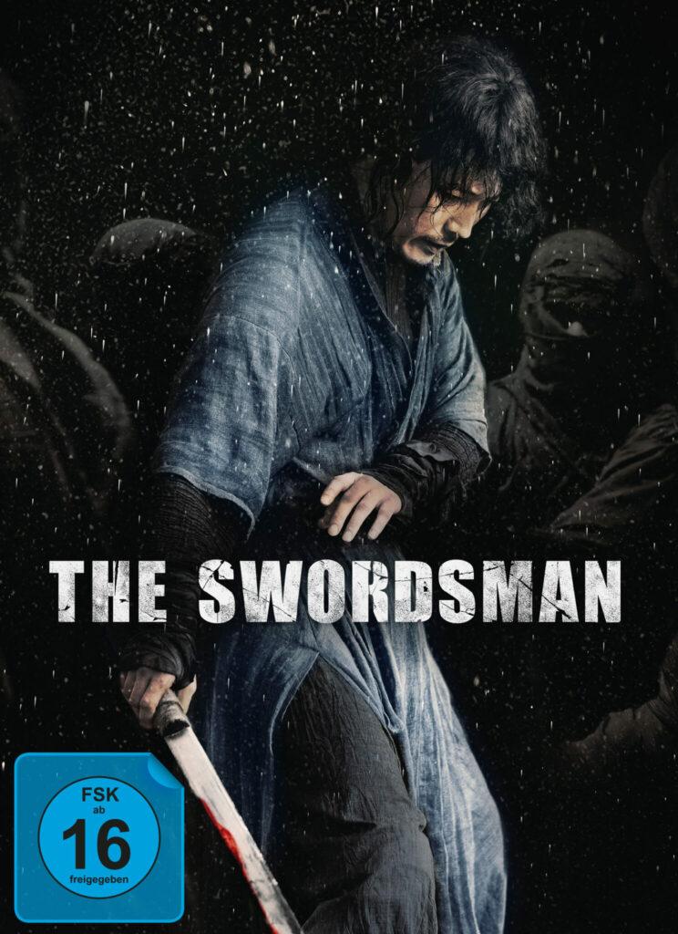 Jang Hyeok scheint schon verletzt, während gesichtslose Feinde im schwarzen Hintergrund lauern - The Swordsman.