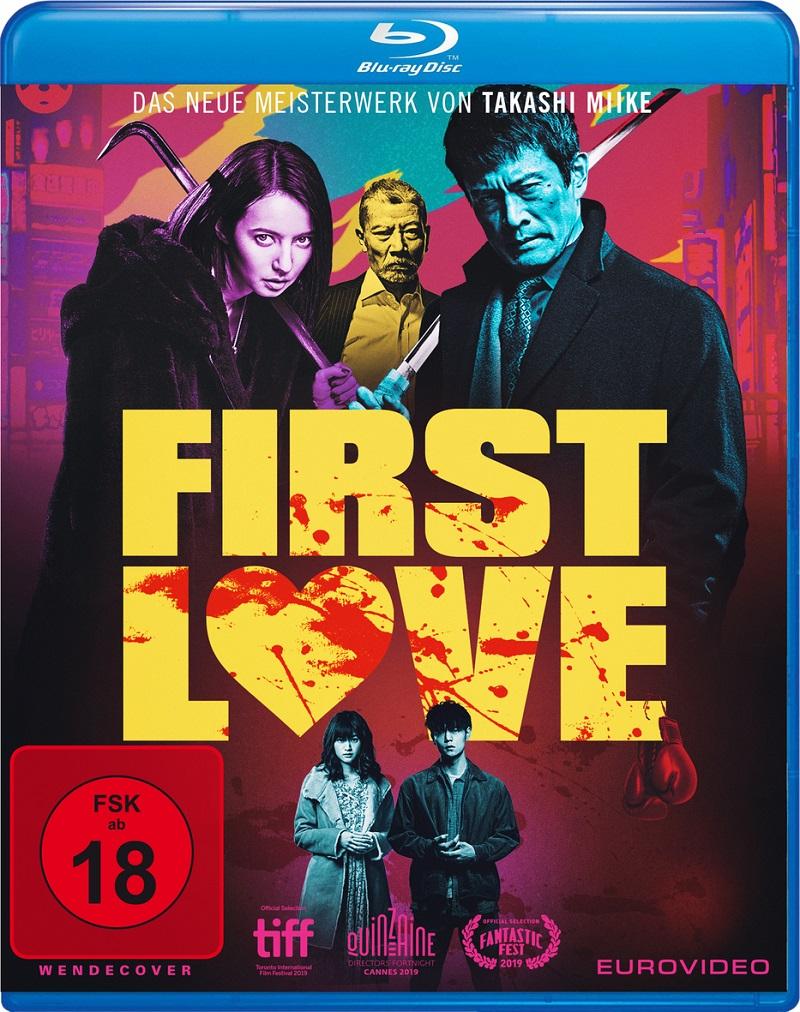 In blutbeschmierten Lettern prangt der Titel First Love auf den Blu-ray Cover, darunter klein das Protagonisten-Pärchen, darüber einige fiese Gangster.