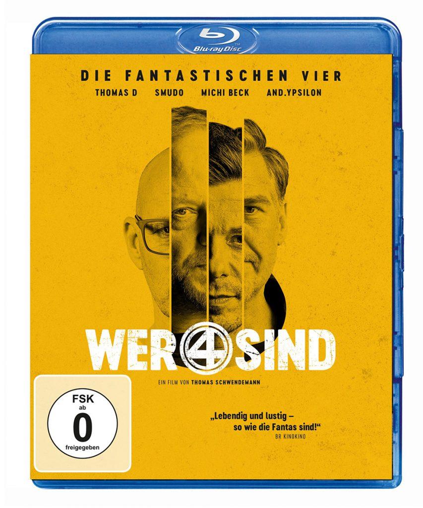 Das Blu-ray-Cover zu Wer 4 sind ist gelb und zeigt Ausschnitte der 4 Köpfe der Band, Quelle: © EuroVideo
