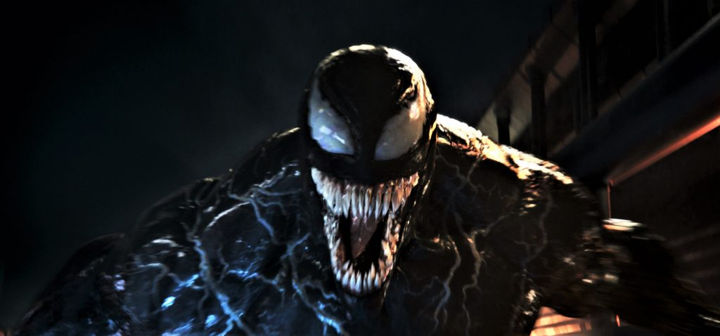 Venom in Action. © 2018 Columbia Pictures Industries, Inc. and Tencent Pictures (USA) LLC. All Rights Reserved. | MARVEL and all related character names: © & ™ 2018 MARVEL.
