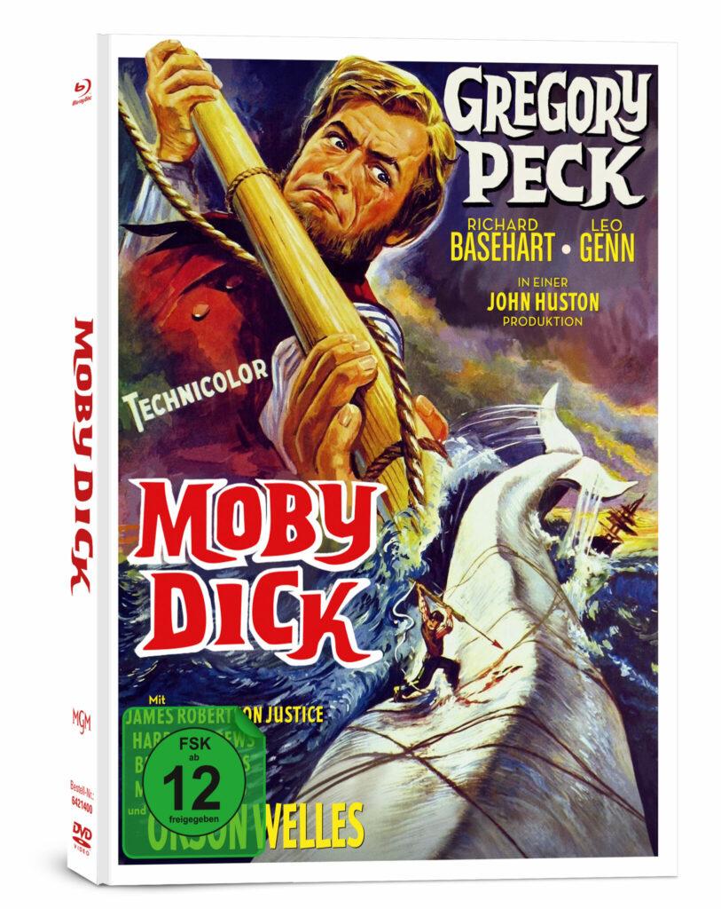 Auf dem Cover von Moby Dick zu erkennen ist Gregory Peck als Captain Ahab, der gerade eine Harpune auf den weißen Wal Moby Dick richtet.