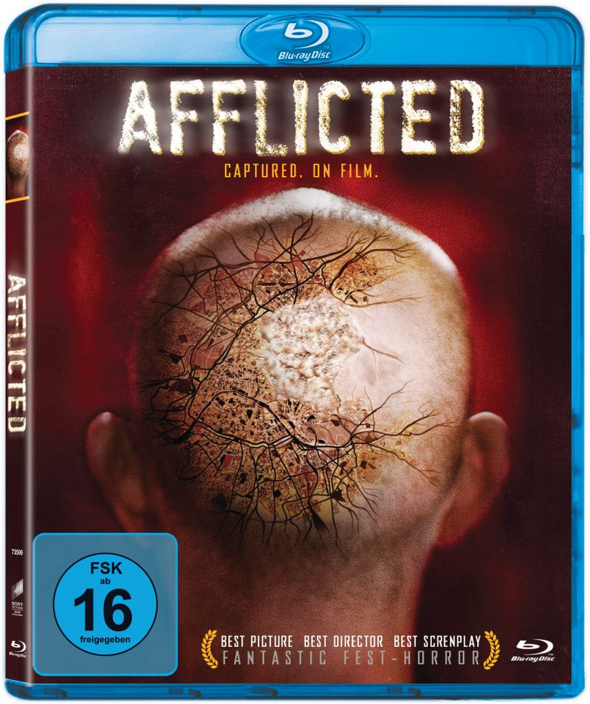 Das Bluray Cover von Afflicted. © 2013 Hemoglobin Pictures Ltd. All Rights Reserved.