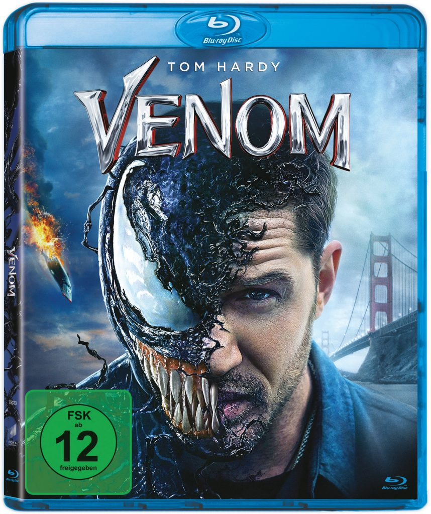 Das Bluray Cover von Venom. © 2018 Columbia Pictures Industries, Inc. and Tencent Pictures (USA) LLC. All Rights Reserved. | MARVEL and all related character names: © & ™ 2018 MARVEL.