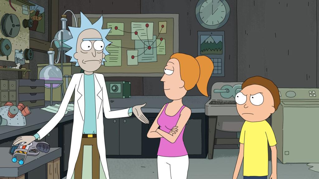 Rick steht mit Morty und Summer in seiner zum Labor umgerüsteten Garage - Neu auf Sky im Juni 2021