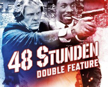 """Das deutsche Cover vom 48 Stunden-Double Feature zeigt die beiden Protagonisten von """"Und wieder 48 Stunden"""". Nick Nolte zielt dabei mit einer Waffe, während Eddie Murphy daneben steht und Zigarre raucht. Das Cover ist in blau/rot gehalten. Unter der mittig geführten Aufschrift ist der Wagen von Nick Noltes Figur zu sehen."""