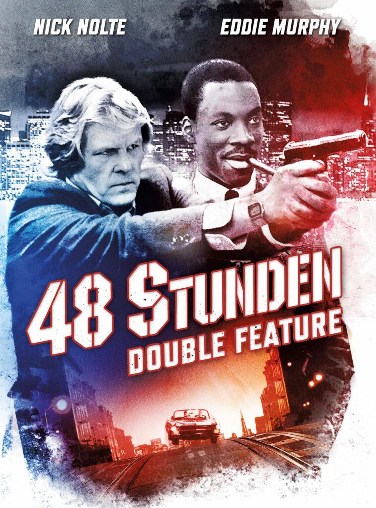 """Das deutsche Cover vom 48 Stunden-Double Feature zeigt die beiden Protagonisten von """"Nur 48 Stunden"""". Nick Nolte zielt dabei mit einer Waffe, während Eddie Murphy daneben steht und Zigarre raucht. Das Cover ist in blau/rot gehalten. Unter der mittig geführten Aufschrift ist der Wagen von Nick Noltes Figur zu sehen."""