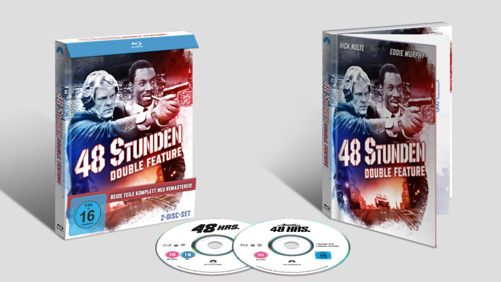 """Das Mediabook zum 48 Stunden-Double Feature mit den beiden Filme """"Nur 48 Stunden"""" und """"Und wieder 48 Stunden"""" ist in rot/blau gehalten. Auf dem Bild sieht man die Sonderedition zweimal. Links mit Verpackung und recht ausgepackt. Zwischen diesen beiden liegen die schlicht in weiß mit schwarzer Aufschrift gehaltenen Blu-ray-Discs."""