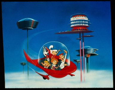 Die Jetsons fliegen in ihrem fliegenden Gefährt durch den Himmel ihres Heimatplanetens, Jetsons - Der Film, Justbidge Entertainment