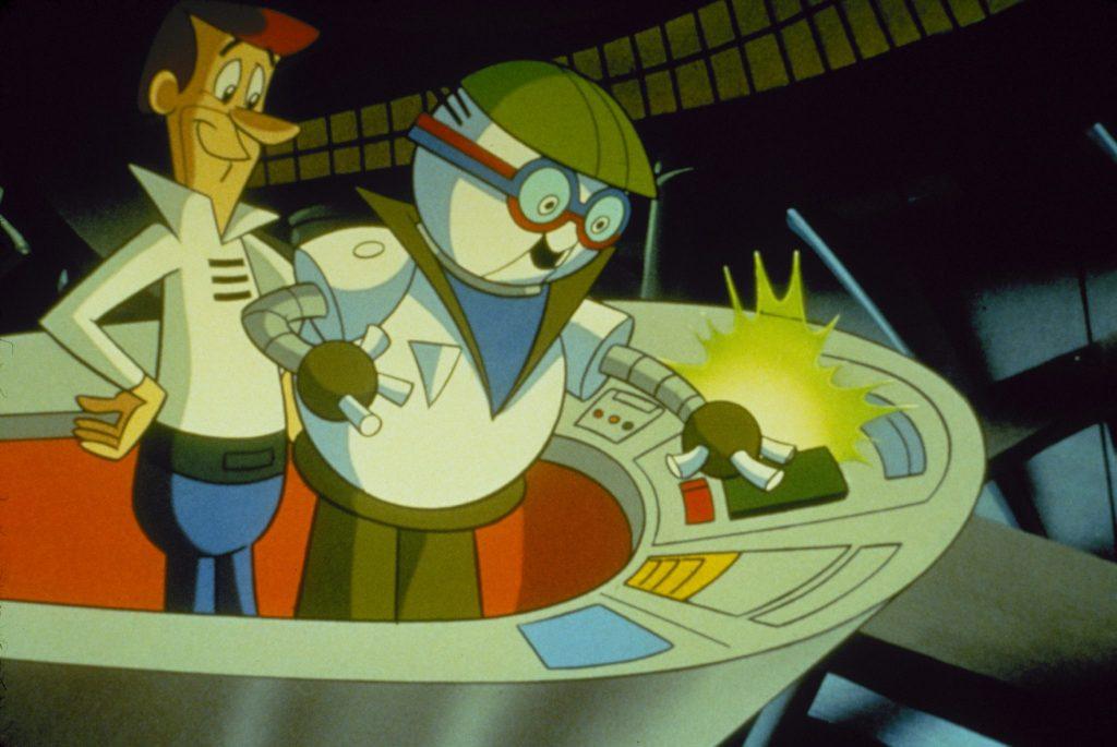 George Jetsons Roboterkollege zeigt ihm, wie die Fabrik funktioniert, Jetsons- Der Film, Justbridge Entertainment
