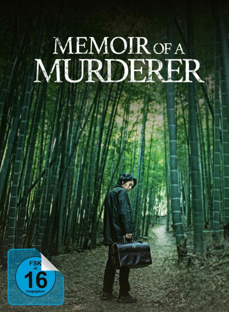 Byeong-Soo steht in einem Bambuswald und sieht über seine Schulter, er hält eine Aktentasche - das offizielle Poster zu Memoir of a Murderer