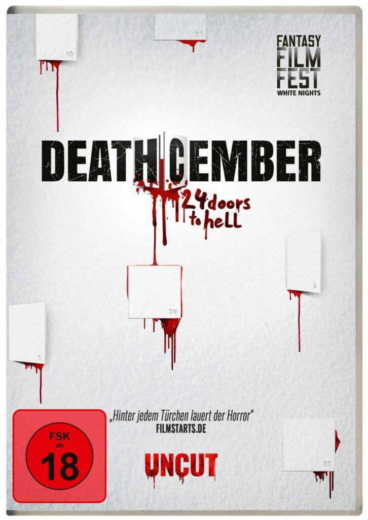 Das Covermotiv von Deathcember zeigt die Titelschrift vor weißem Hintergrund mit Adventskalender-Türchen, aus denen Blut herausläuft.