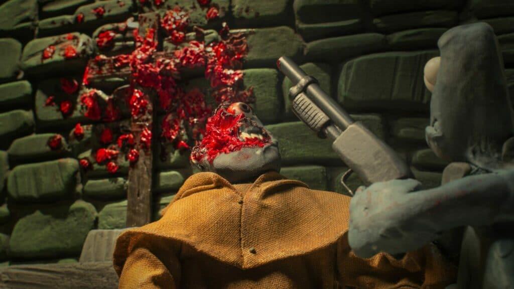 In Claymotion ist aus der Froschperspektive ein Junge auf der rechten Seite des Bildes in Rückenansicht dargestellt. Er hält ein Gewehr nach einem Kopfschuss auf den Vergewaltiger gerichtet. Lediglich die linke Hälfte seines Kopfes ist erkennbar. Die Wand im Hintergrund ist mit den blutigen Überresten bespritzt. Der Priester ist mittig im Bild in einer Halbnahen positioniert und trägt eine hellbraune Tracht.