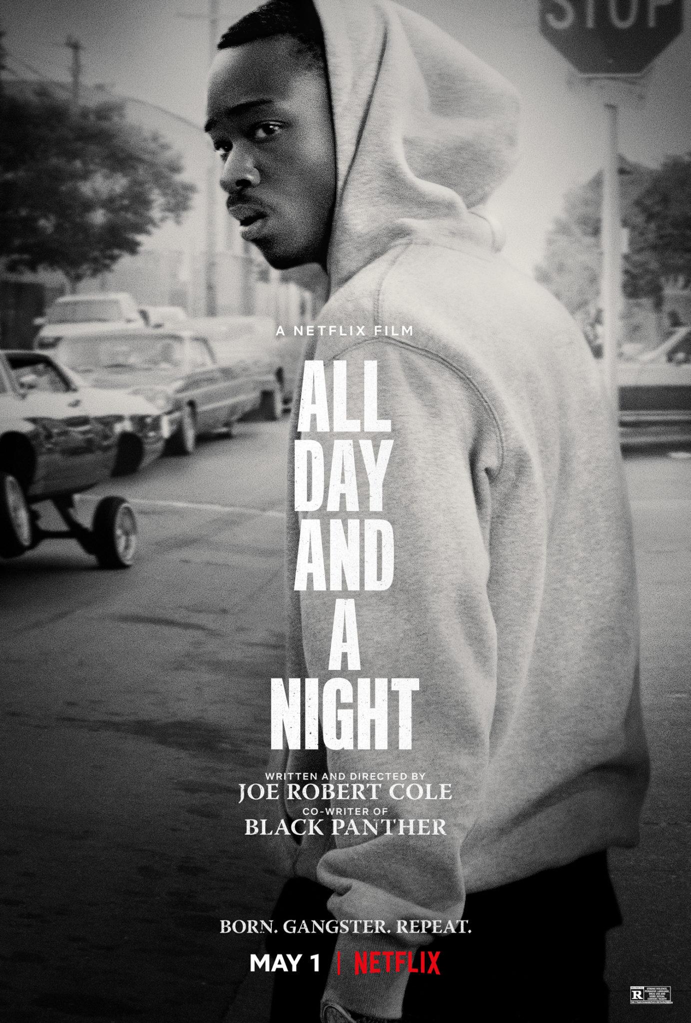 Das Poster von All Day and a Night zeigt in Schwarz-Weiß den Protagonisten Jakhor. Der Titel des Films ist in großen Lettern in weiß zu sehen - die einzelnen Wörter sind untereinander angeordnet.
