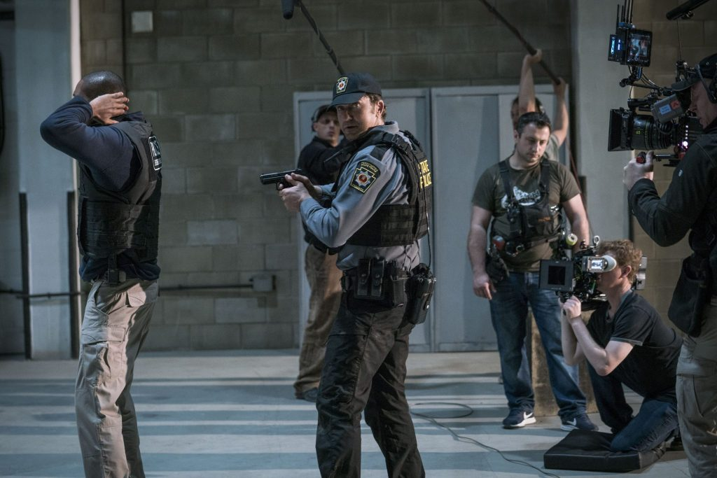 Gerard Butler als Mike Banning bei den Dreharbeiten zu Angel Has Fallen