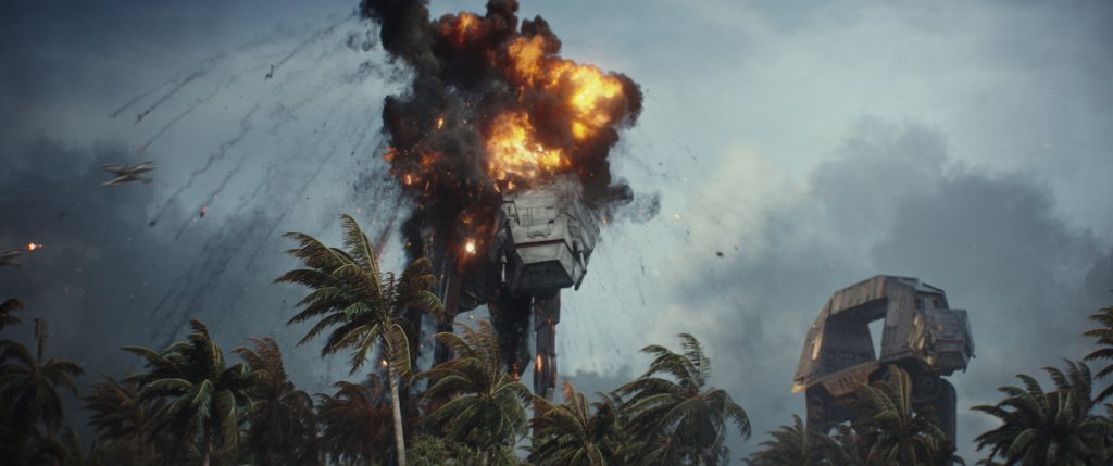 Ein imperialer AT-ACT Walker auf Scarif in Rogue One: A Star Wars Story. ©2015 Lucasfilm Ltd. & ™, All Rights Reserved.