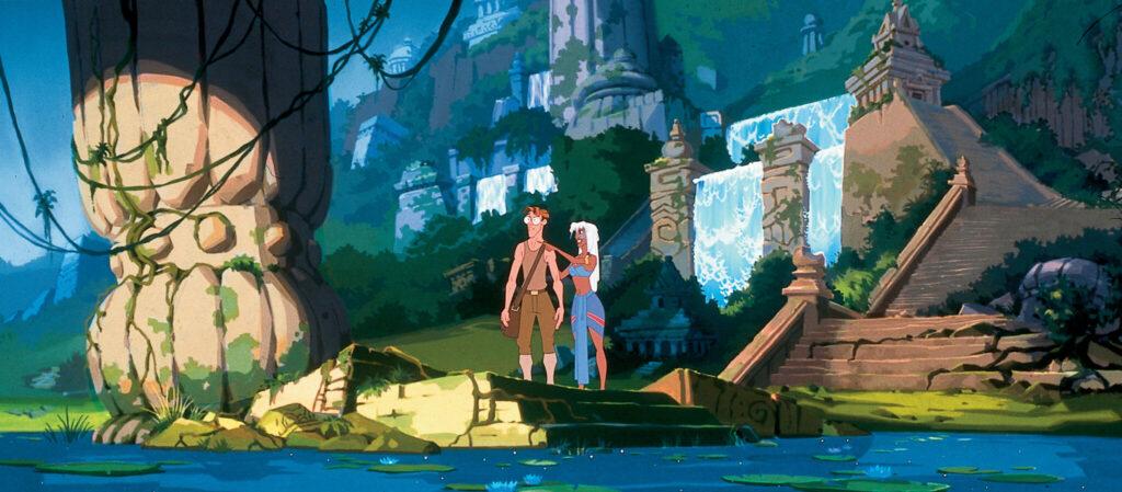 Milo und Prinzessin Kida stehen an einem Bootsteg, hinter ihnen führen allmählich zuwuchernde Treppen, entlang Wasserfällen, in die an den Berghang gelegenen Ruinen der alten Stadt - Filme von Disney.