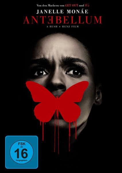 Das Filmplakat zu Antebellum verdeckt Veronicas (Janelle Monáe) Mund mit einem Schmetterling.