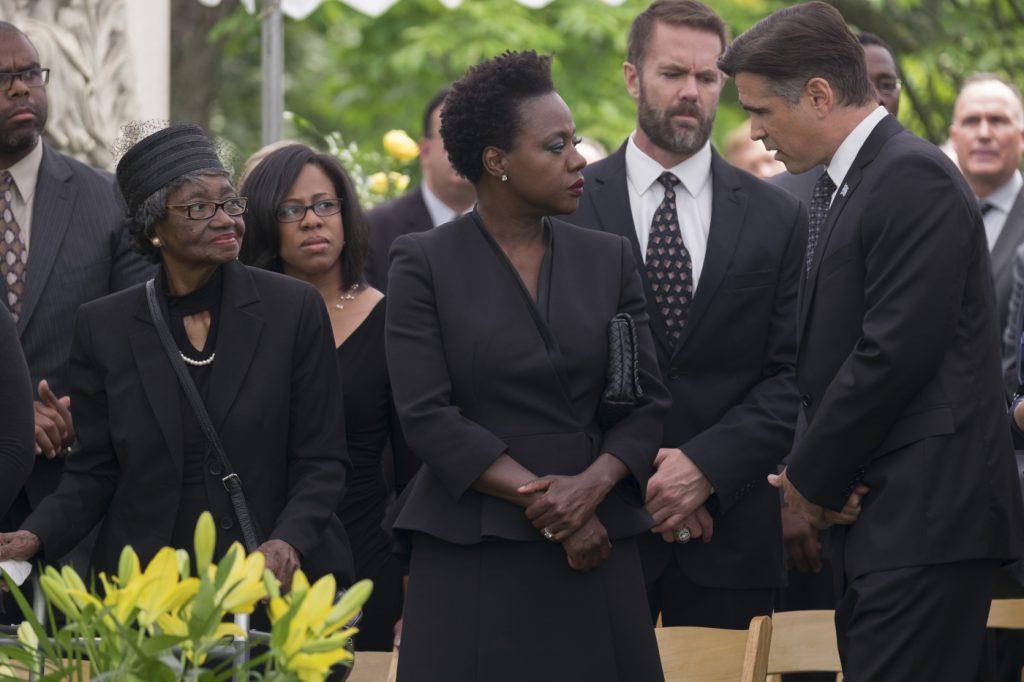 Auch Tom Mulligan (Colin Farrell) spricht Veronica sein Beileid aus in Widows - Tödliche Witwen © 2018 20th Century Fox