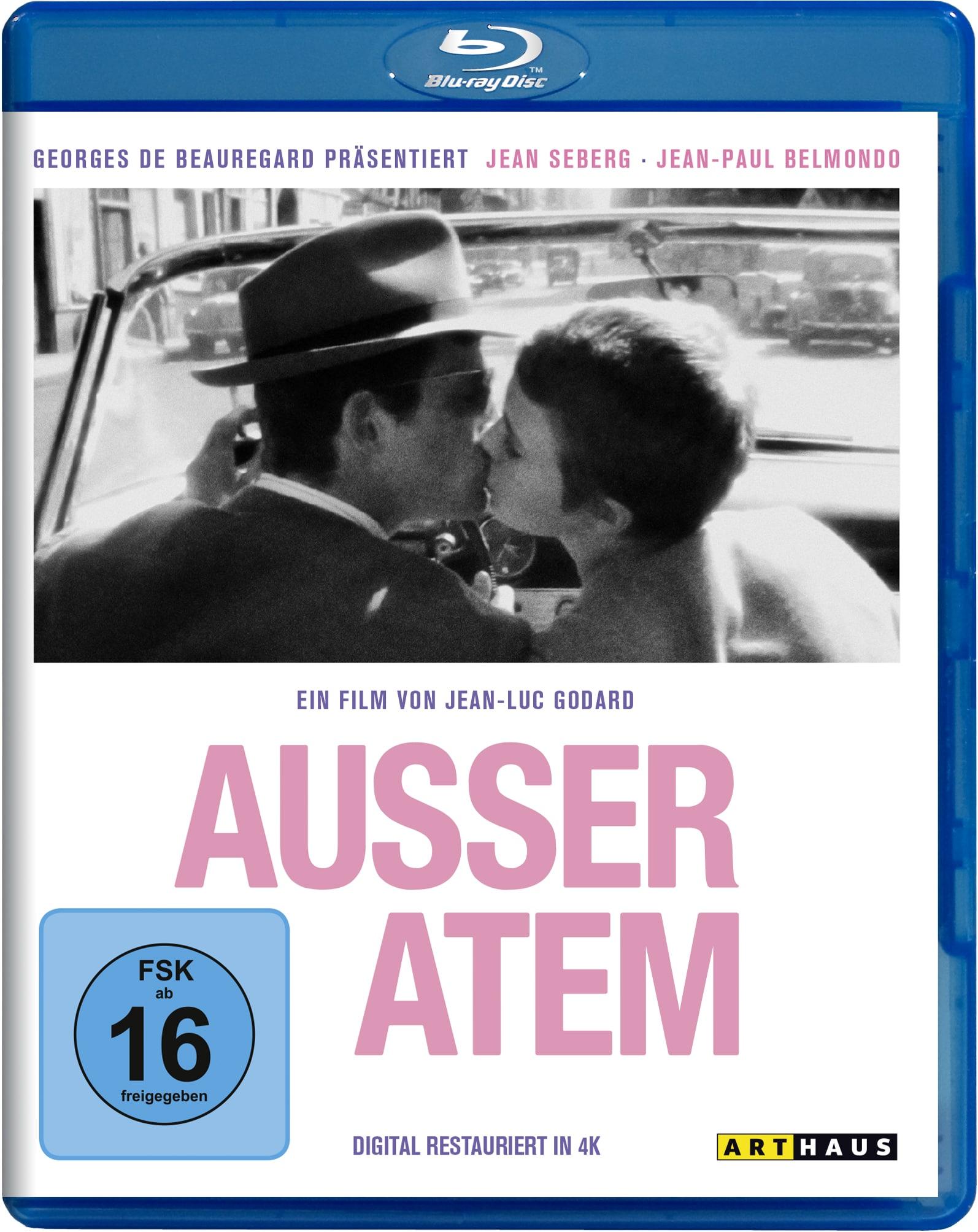 Das Cover der Blu-ray zu Außer Atem ist größtenteils schlicht in weiß gehalten. In der unteren Hälfte sehen wir den Filmtitel in Großbuchstaben und rosa Schrift, in der oberen Hälfte küsst sich das Filmpaar Michel (Jean-Paul Belmondo) und Patricia (Jean Seberg) im Auto.