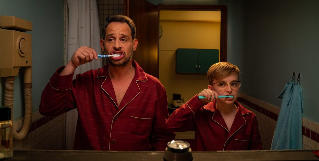 Axel und sein Sohn Florian beim gewissenhaften Zähneputzen in Ich war ncoh niemals in New York © 2019 Universal Pictures