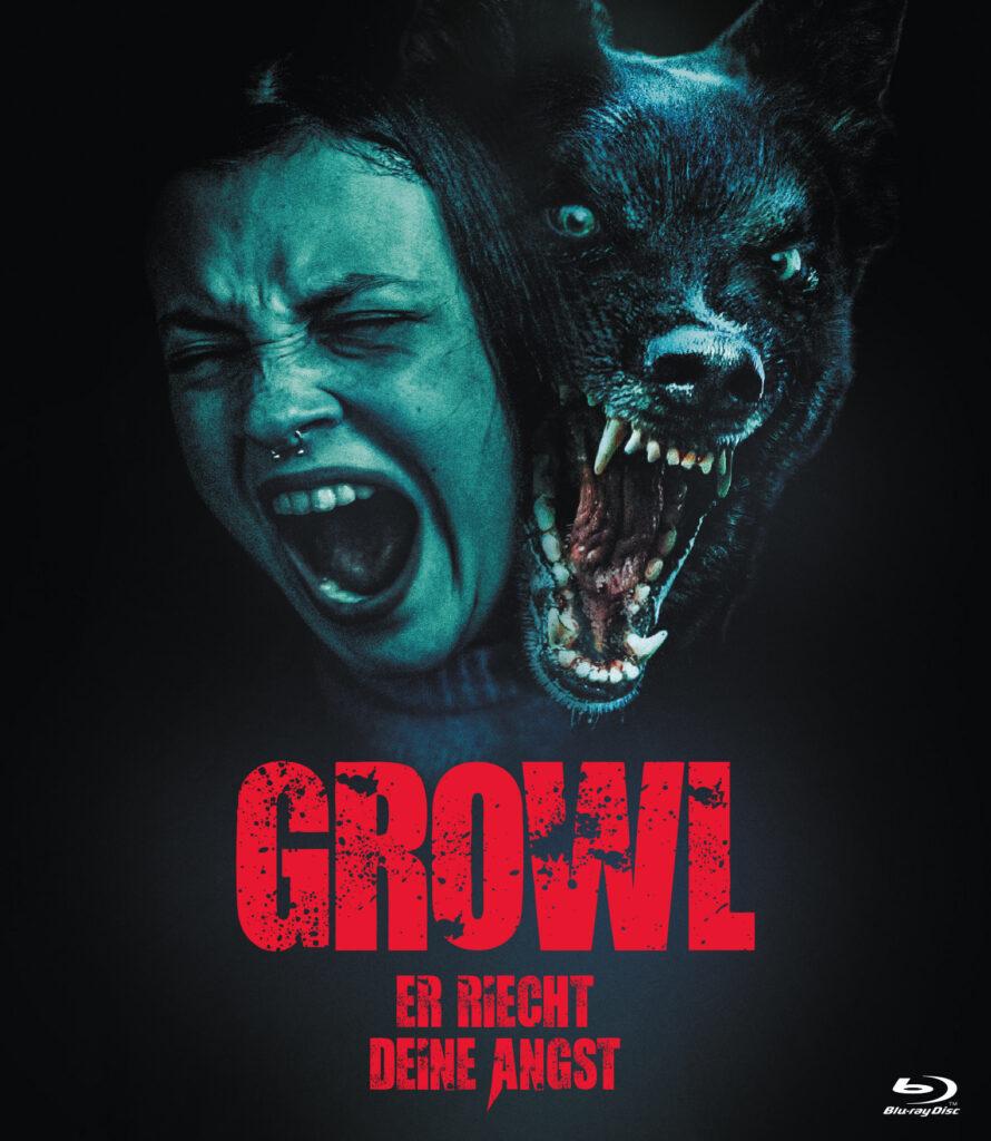 Das Filmplakat von Growl zeigt die schreiende Elena (Paula del Río) und den brüllenden Hund.