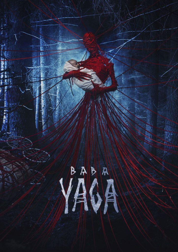 Das Filmplakat zu Baba Yaga zeigt die Hexe mit einem Baby im Arm umgarnt von zahlreichen roten Fäden