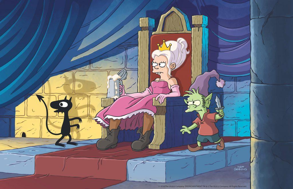 Prinzessin Bean und ihre zwei treuen Begleiter: Der Elf Elfo und der Dämon Luci. © Netflix