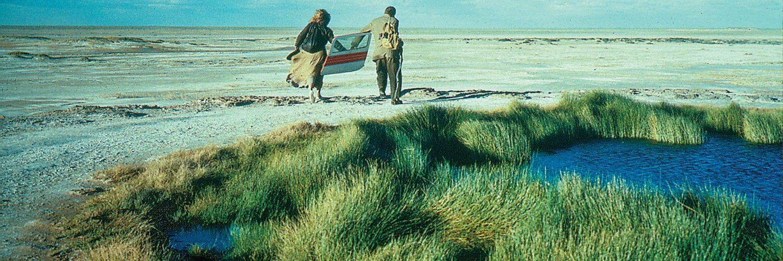 Claire, gespielt von Solveig Dommartin, läuft links von Farber, gespielt von William Hurt, durch die australische Wüste. Zwischen sich tragen sie eine Flugzeugtür. Bei ihrer Wanderung passieren sie ein Wasserloch.
