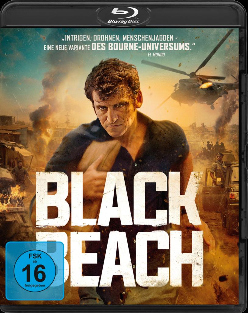 Das Cover der Blu-ray von Black Beach zeigt Carlo, gespielt von Raúl Arévalo, mit den gesuchten Dokumenten unterm Arm auf der Flucht vor dem Miltär.