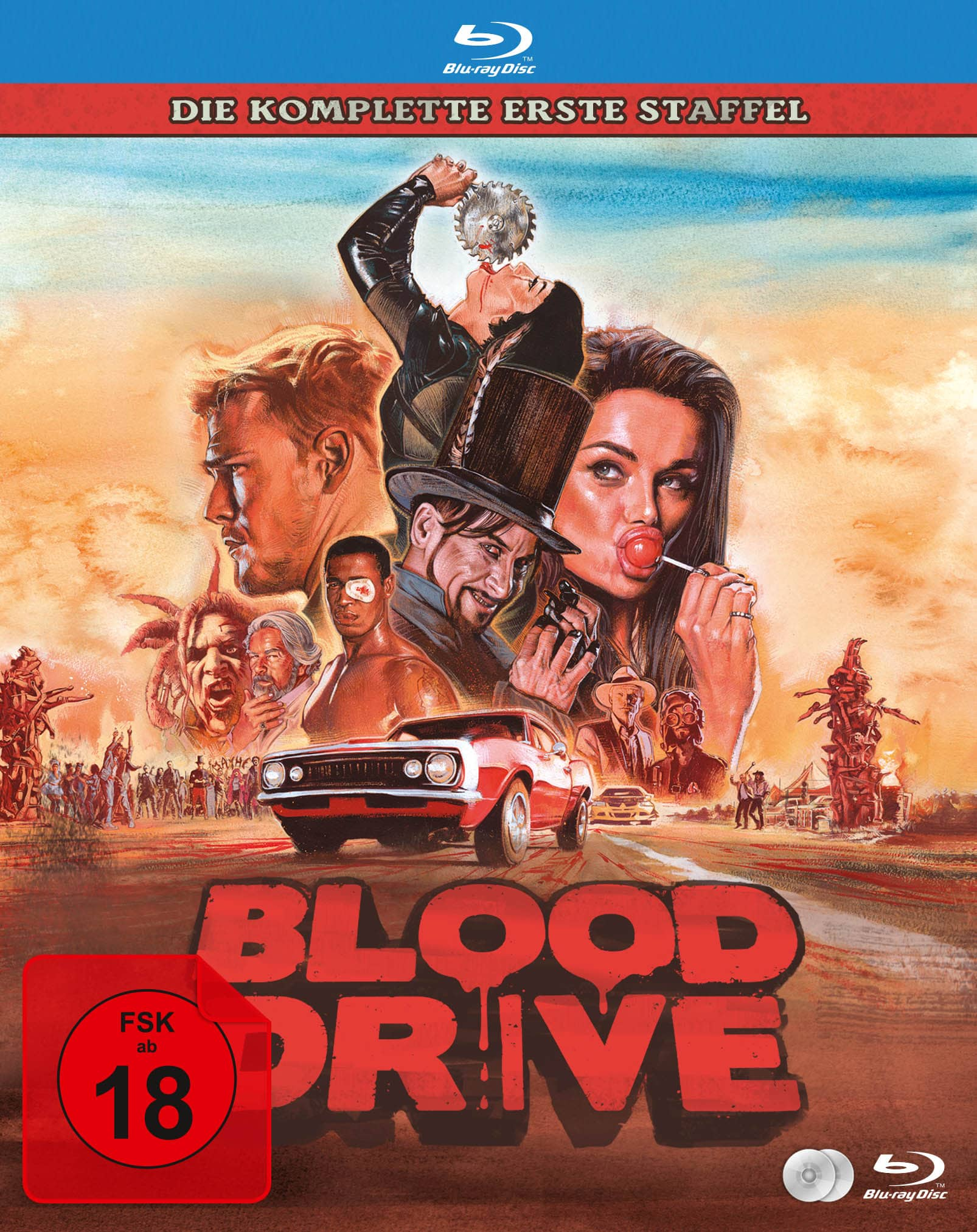 """Das Cover der Blu-Ray von """"Blood Drive"""" mit den Protagonisten im Zentrum des Bildes und einem Auto in einer postapokalyptischen Landschaft."""