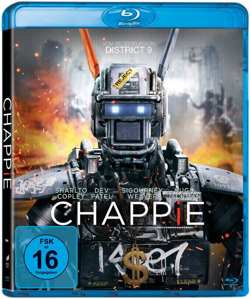 Bluray-Cover von CHAPPIE (2015) © 2015 Columbia Pictures Industries, Inc., LSC Film Corporation and MRC II Distribution Company LP. All Rights Reserved