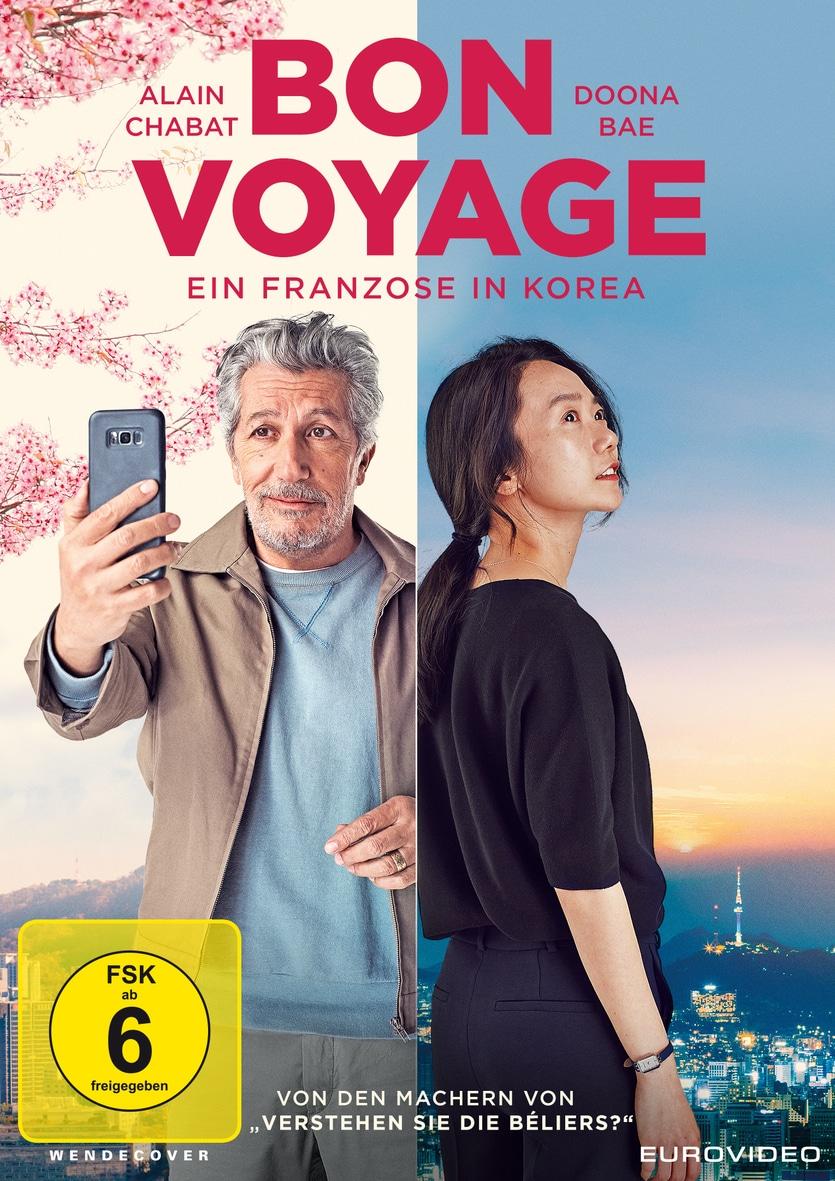 """Alain Chabat als Stéphane und Doona Bae in verschiedenen Bildhälften auf dem DVD-Cover von """"Bon Voyage""""."""