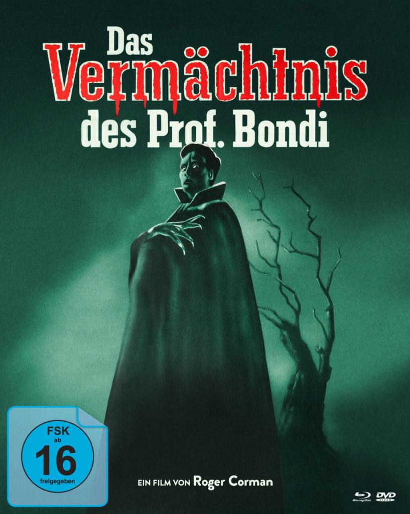 Im gespenstischen, dunklen Grün gehüllt zeigt das Cover von Das Vermächtnis des Prof. Bondi eine unheimliche Gestalt mit Krallenhand, die in einen Umhang gehüllt ist, dahinter ein kleiner Baum mit dürren, blattlosen Ästen
