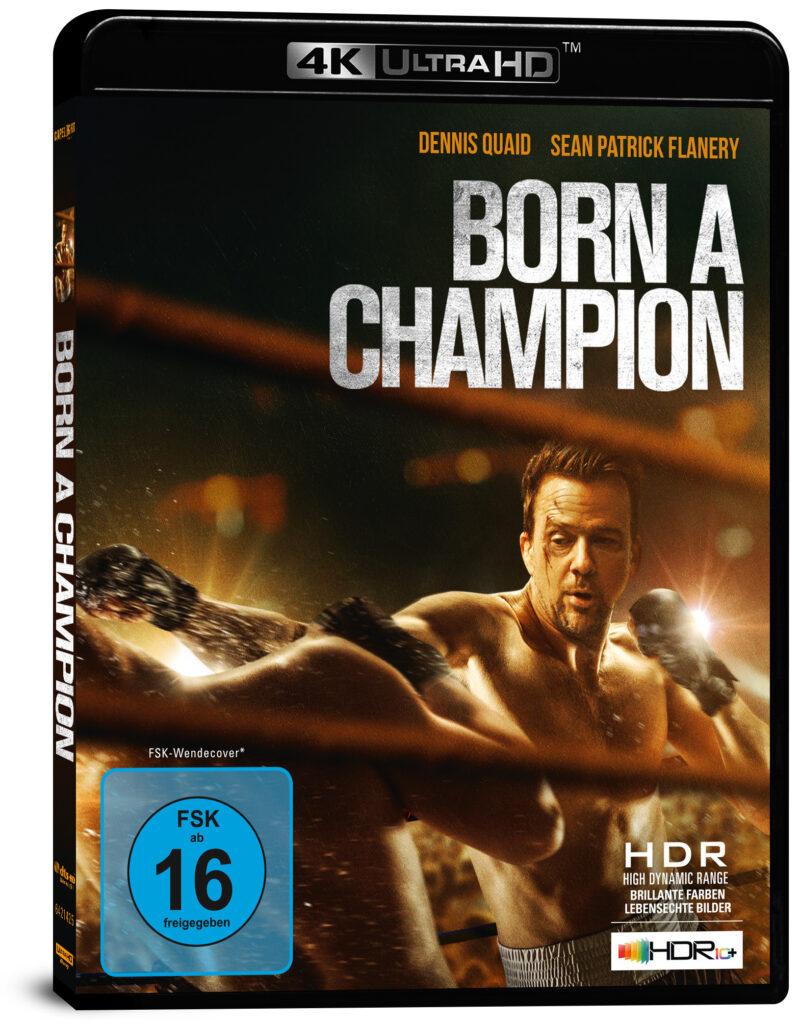 """Das deutsche 4K Cover zu """"Born a Champion"""" zeigt Hauptdarsteller Sean Patrick Flanery inmitten eines Kampfes. Über ihn ragt der Filmtitel."""