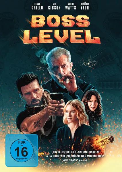 """Das deutsche DVD-Cover zu """"Boss Level"""" zeigt die vier namenhaftesten Darsteller des Films, Mel Gibson (zentral oben), Frank Grillo (links mittig), Naomi Watts (relativ klein unten zentral) und Michelle Yeoh (kaum zu erkennen rechts zentral). Über den Darstellern ragt der Schriftzug """"Boss Level"""" in gelb-orange und in 8-Bit-Optik."""