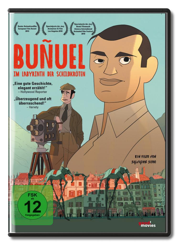 Auf dem Cover von Buñuel - Im Labyrinth der Schildkröten sehen wir groß den Regisseur, dahinter seinen Freund an der Kamera, während unten Elefanten auf Stelzen durch die Straßen ziehen