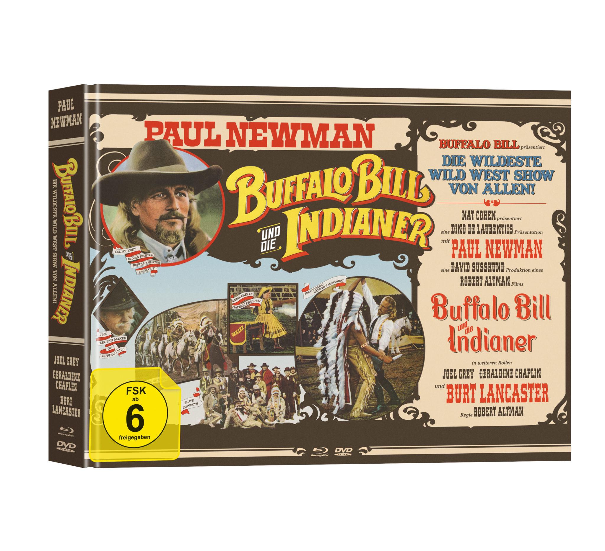 Das braun-beige Cover des Mediabooks zu Buffalo Bill und die Indianer ist ungewöhnlicherweise im Querformat. Es listet einige Beteiligte in Western-typischer Schriftart auf und zeigt ein paar Szenenbilder aus dem Film.