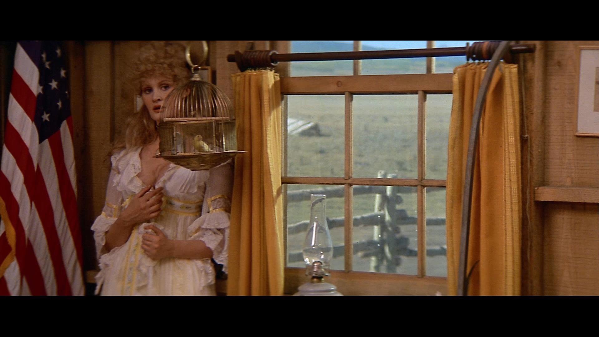 Eine Opernsängerin steht in Buffalo Bills Zimmer neben dem Fenster an die Wand gedrängt. Links neben ihr sieht man eine große amerikanische Flagge, vor ihr verdeckt ein Vogelkäfig (mit Vogel) einen Teil ihres Gesichtes.