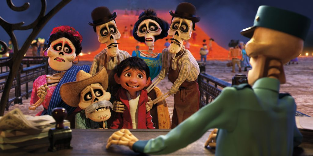 """FAMILY REUNION -- In Disney•Pixar's """"Coco,"""" Miguel (voice of newcomer Anthony Gonzalez) finds himself magically transported to the stunning and colorful Land of the Dead where he meets his late family members, who are determined to help him find his way home. Directed by Lee Unkrich (""""Toy Story 3""""), co-directed by Adrian Molina (story artist """"Monsters University"""") and produced by Darla K. Anderson (""""Toy Story 3""""), Disney•Pixar's """"Coco"""" opens in U.S. theaters on Nov. 22, 2017. ©2017 Coco•Pixar. All Rights Reserved."""