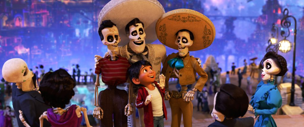 "COCO (Pictured) - IDOL CHATTER – In Disney•Pixar's ""Coco,"" aspiring musician Miguel journeys through the Land of the Dead in search of his idol, Ernesto de la Cruz. Miguel meets the popular performer at Ernesto's annual Día de Muertos party. Featuring Anthony Gonzalez as the voice of Miguel, and Benjamin Bratt as the voice of Ernesto de la Cruz, ""Coco"" opens in U.S. theaters on Nov. 22, 2017. ©2017 Disney•Pixar. All Rights Reserved."